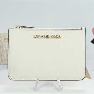 Coin Pouch with ID Holder in Saffiano Optic White